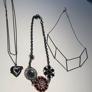 3 silver necklaces Betsey Johnson and. Lucky